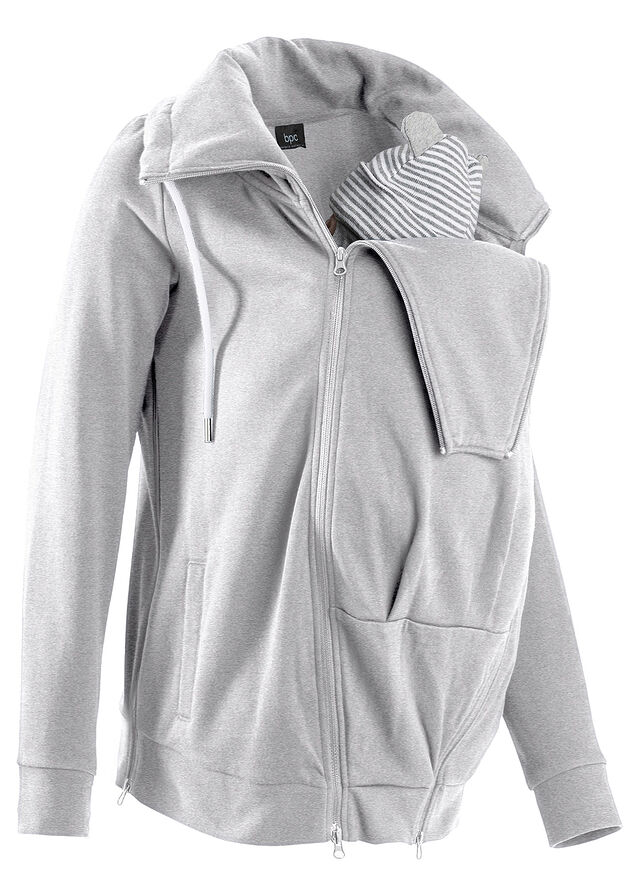 ec220afa42c39d Bluza rozpinana ciążowa z wstawką niemowlęcą na nosidełko • jasnoszary  melanż • bonprix sklep