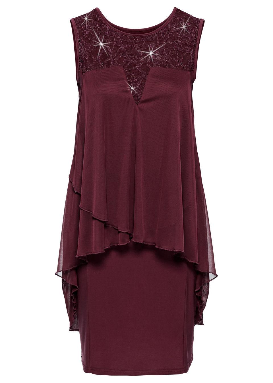 Купить Платья, Платье из трикотажа и шифона, bonprix, темно-красный