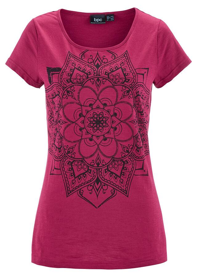 c4acdb60866e04 Shirt z przędzy mieszankowej, krótki rękaw • jeżynowo-czerwony • bonprix  sklep