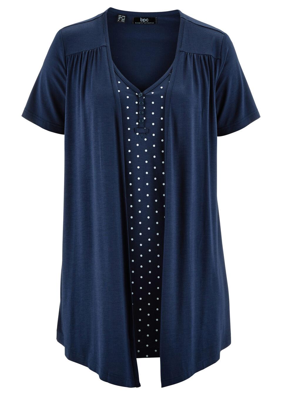 Shirt 2 w 1 z dekoltem w serek, krótki rękaw bonprix ciemnoniebiesko-biały w groszki