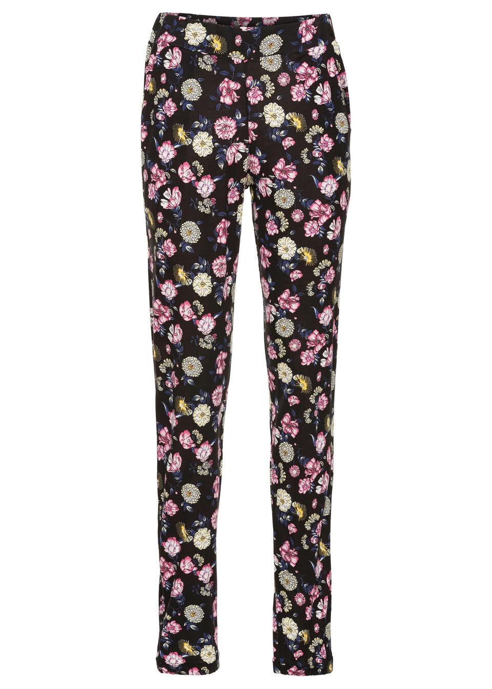 Spodnie z dżerseju bonprix czarny w kwiaty