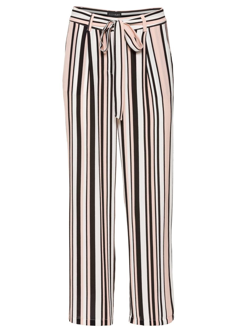 Spodnie 7/8, szerokie nogawki bonprix różowo-czarno-biel wełny w paski