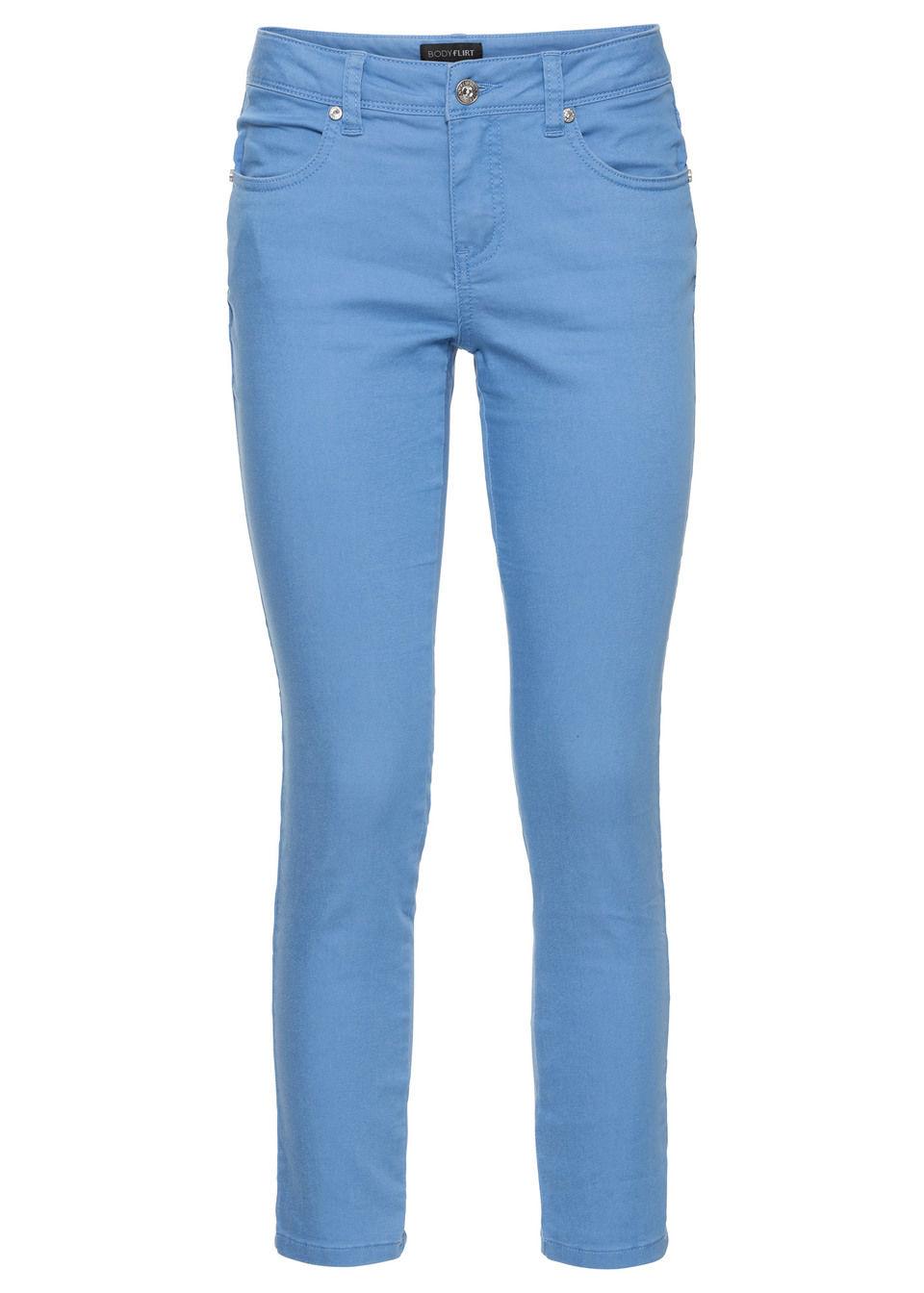 Spodnie ze stretchem 7/8 bonprix niebieski dżins