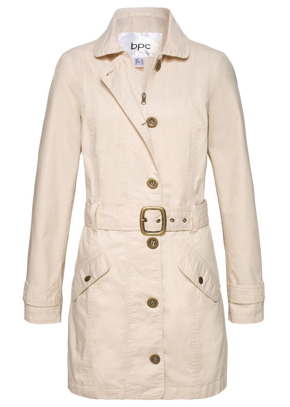 Płaszcz trencz bonprix szarobeżowy