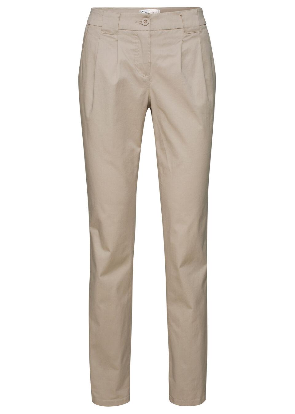 Spodnie chino ze stretchem bonprix piaskowy