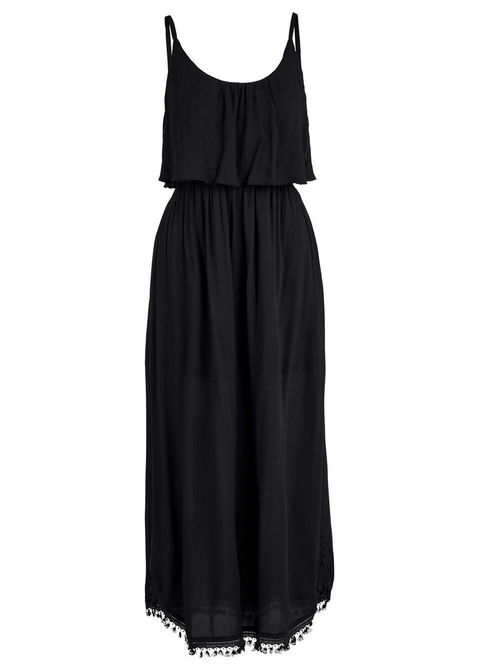 Sukienka midi z falbaną bonprix czarny