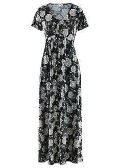 d1f3d93059 Długa sukienka z krótkim rękawem czarny w kwiaty • 149.99 zł • bonprix