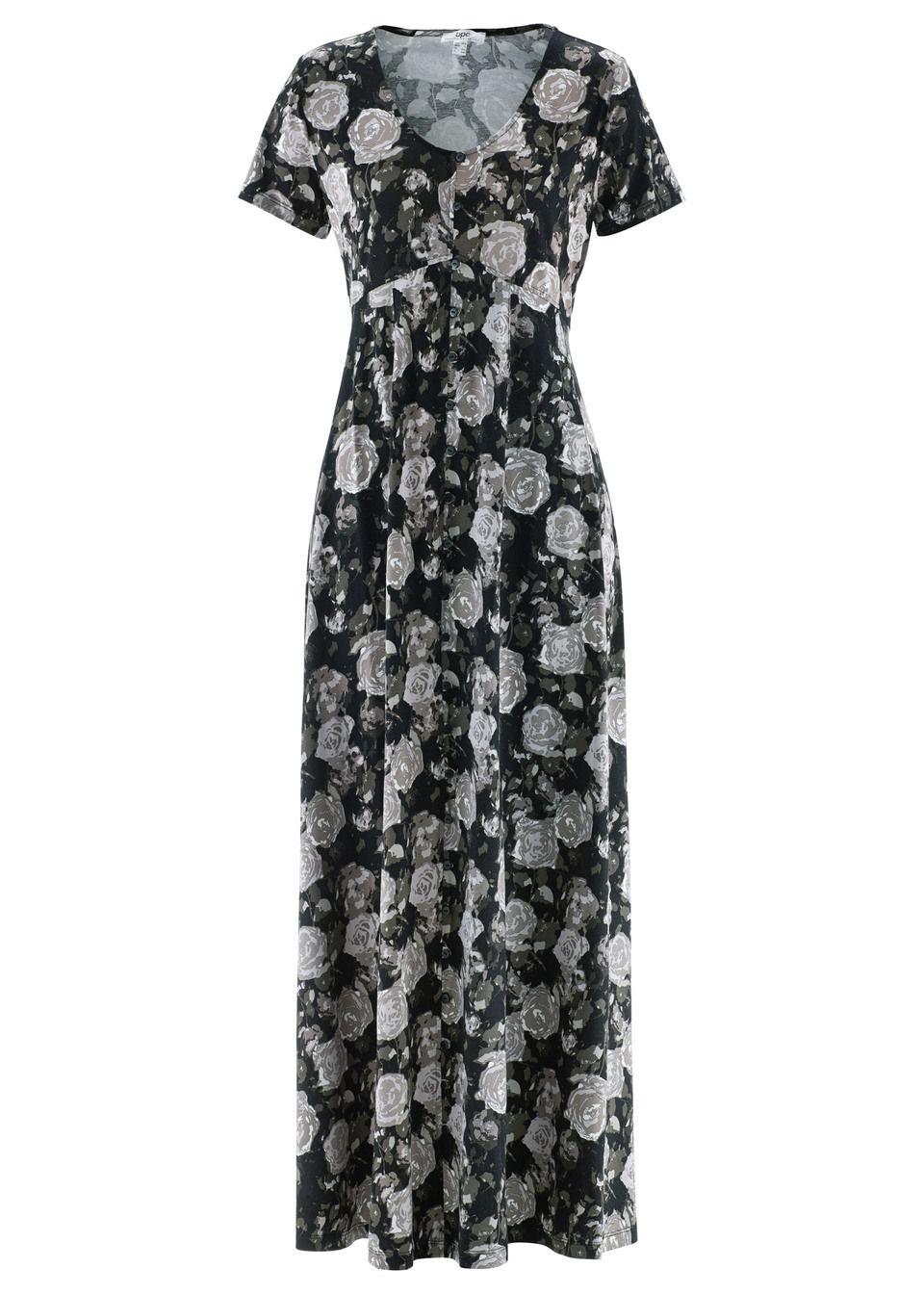 Макси-платье с коротким рукавом, трикотаж
