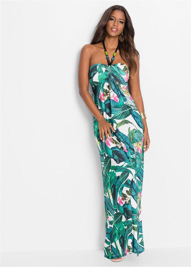 51316e265e Długa letnia sukienka zielony w kwiaty • 149.99 zł • bonprix