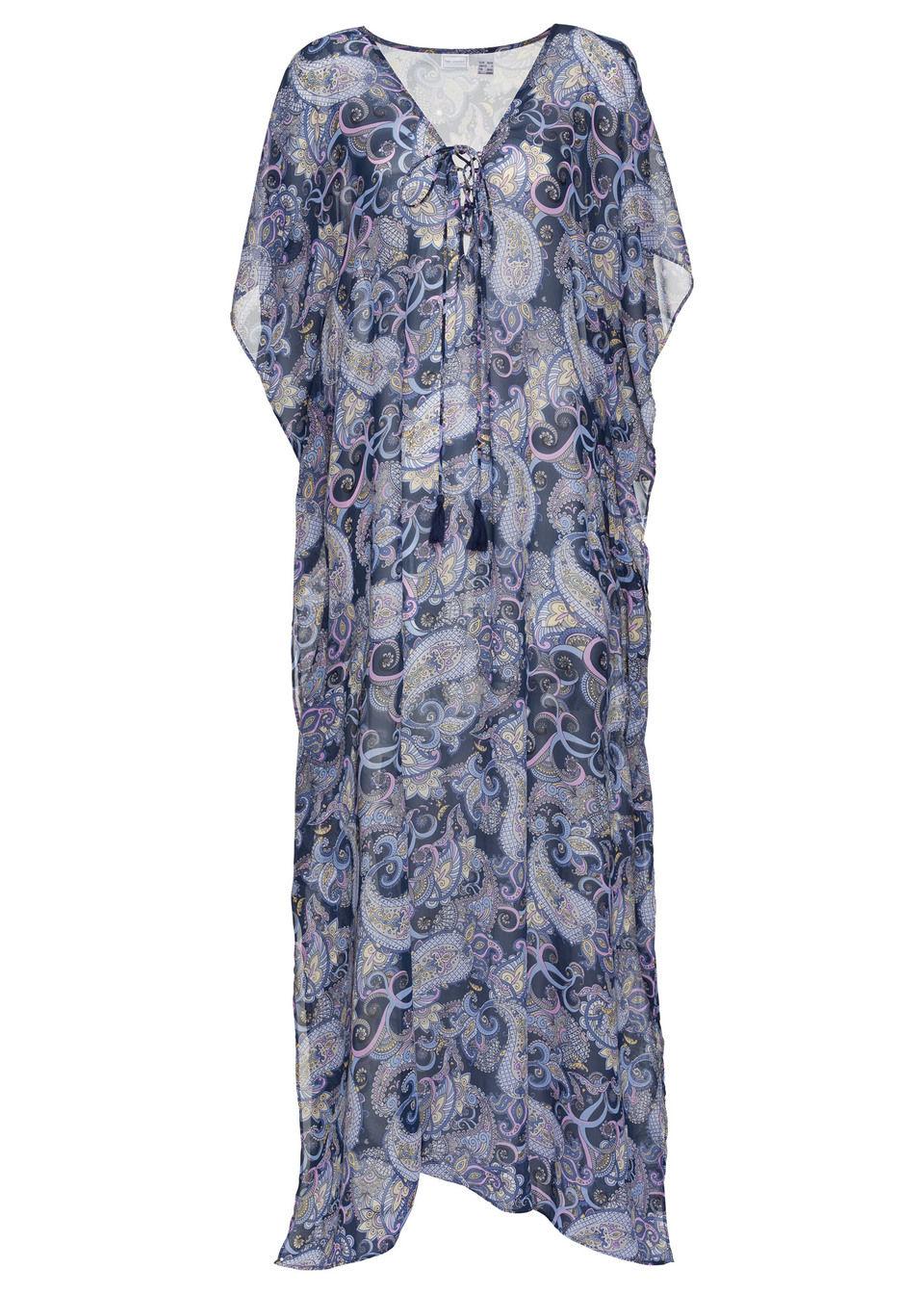 Sukienka plażowa maxi bonprix niebiesko-lila