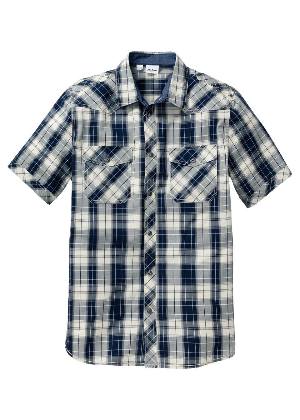 Купить Рубашка Regular Fit с коротким рукавом, bonprix, натуральный/темно-синий