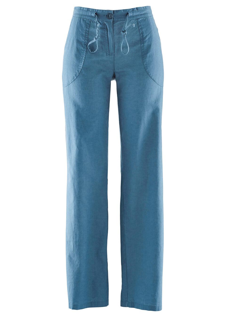 Льняные брюки с широкими брючинами