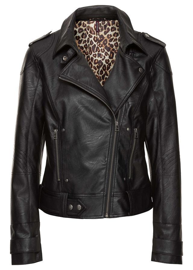 Motoros dzseki fekete Bőrutánzatból • 12999.0 Ft • bonprix 5673aea1e7