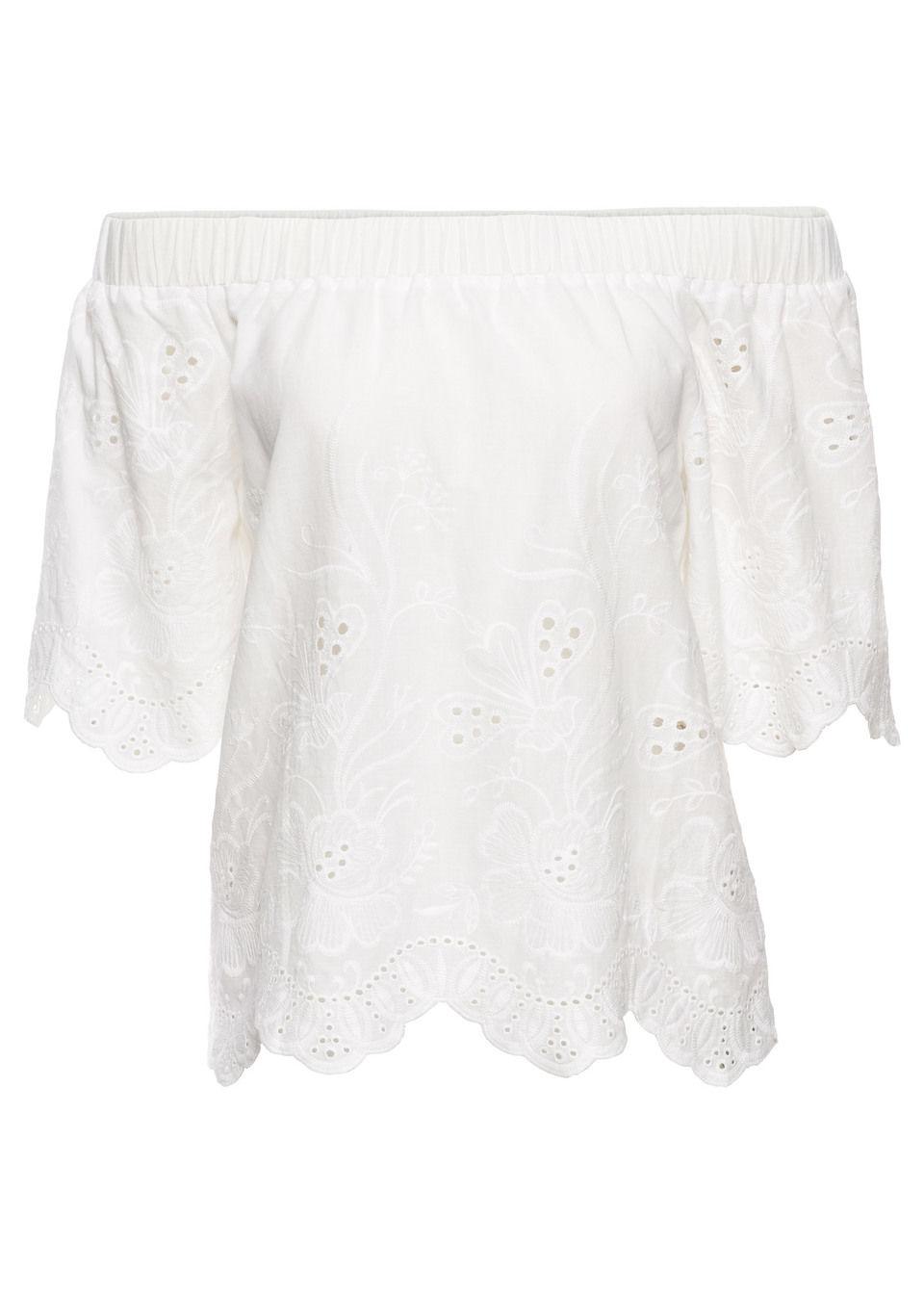 Блузка с вырезом-кармен и вышивкой