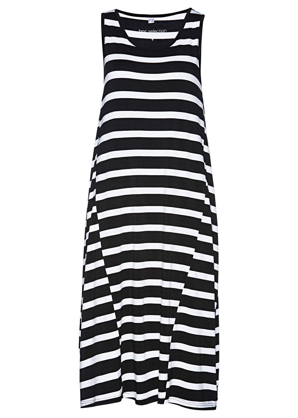 Sukienka shirtowa bonprix czarno-biały w paski