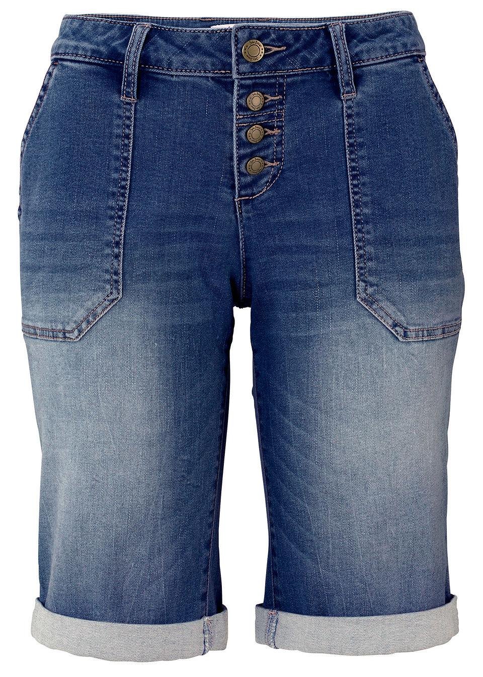 Bermudy dżinsowe bonprix niebieski