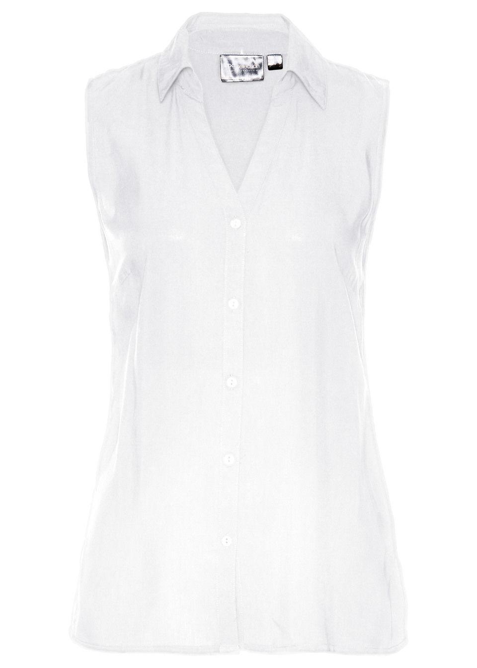 Bluzka z wiskozy, krótki rękaw bonprix biały