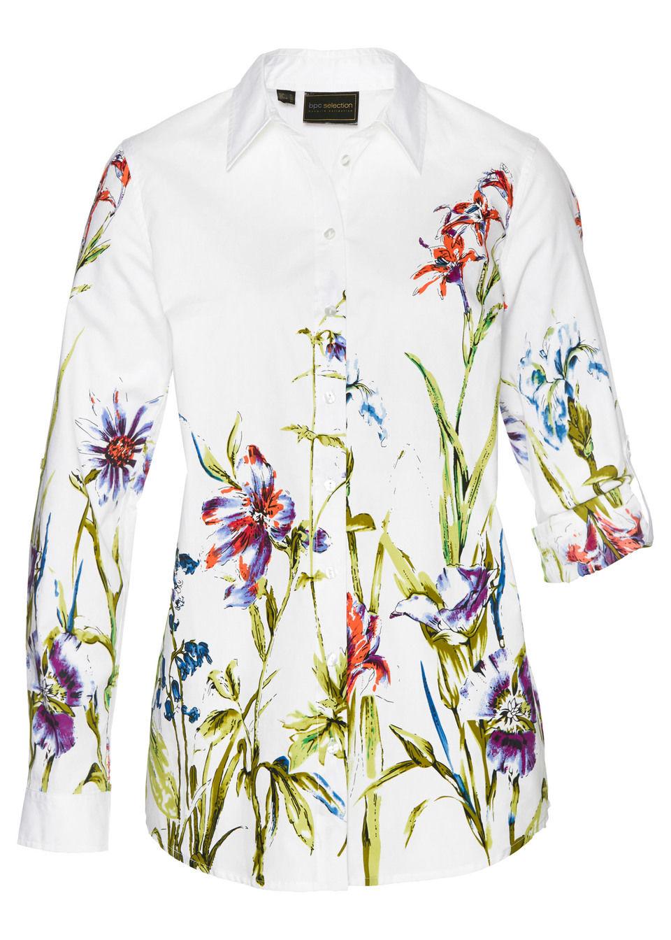 Купить Блузка с цветочным принтом, bonprix, белый в цветочек