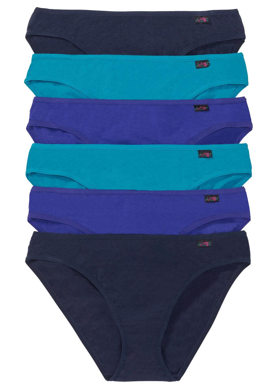 Figi (6 par) bonprix szafirowy+ciemnoturkusowy+ciemnoniebieski