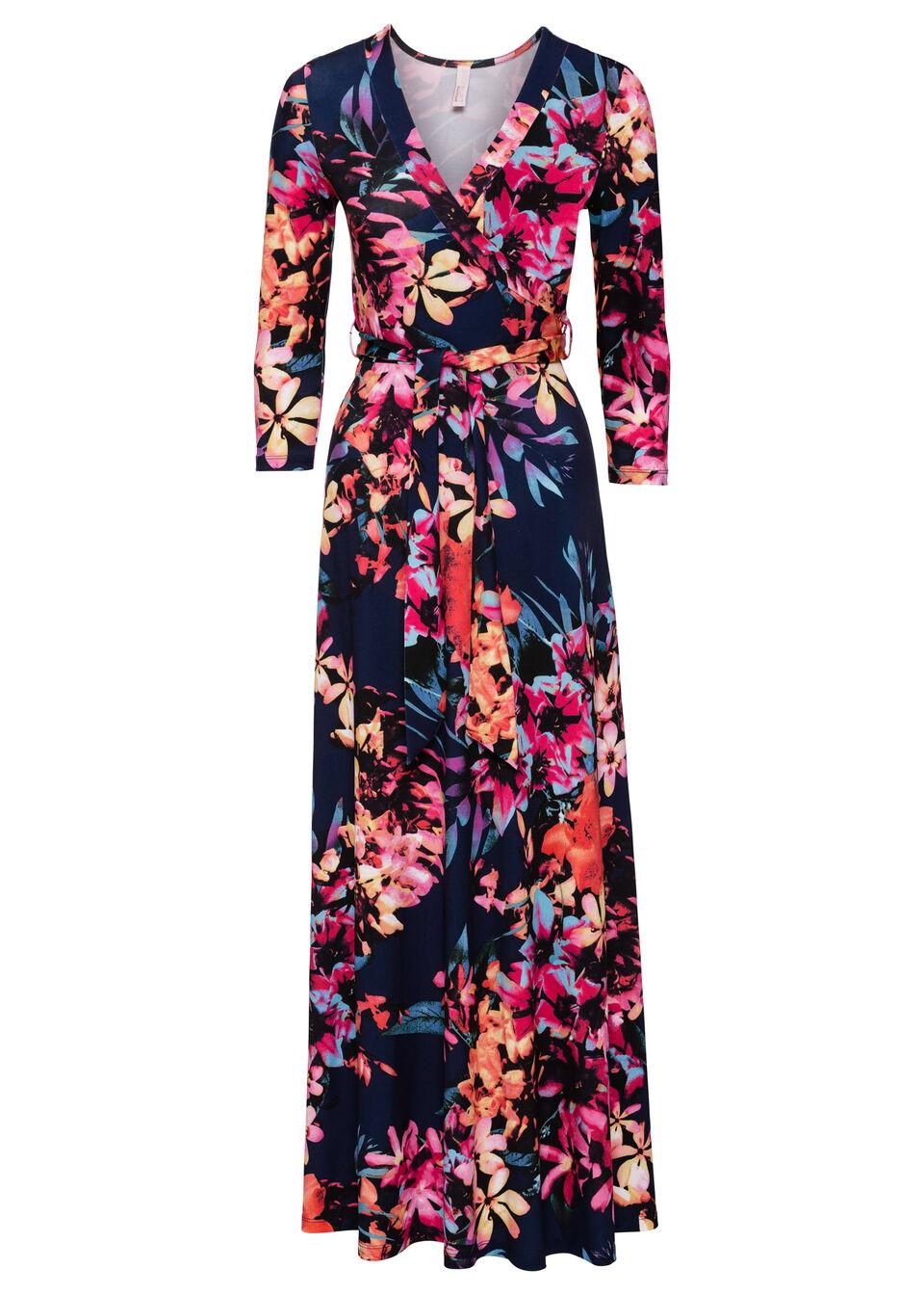 Długa sukienka w kwiaty bonprix niebiesko-jasnoróżowy w kwiaty