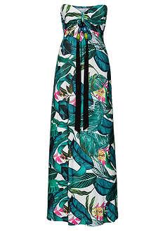Długa letnia sukienka zielony w kwiaty