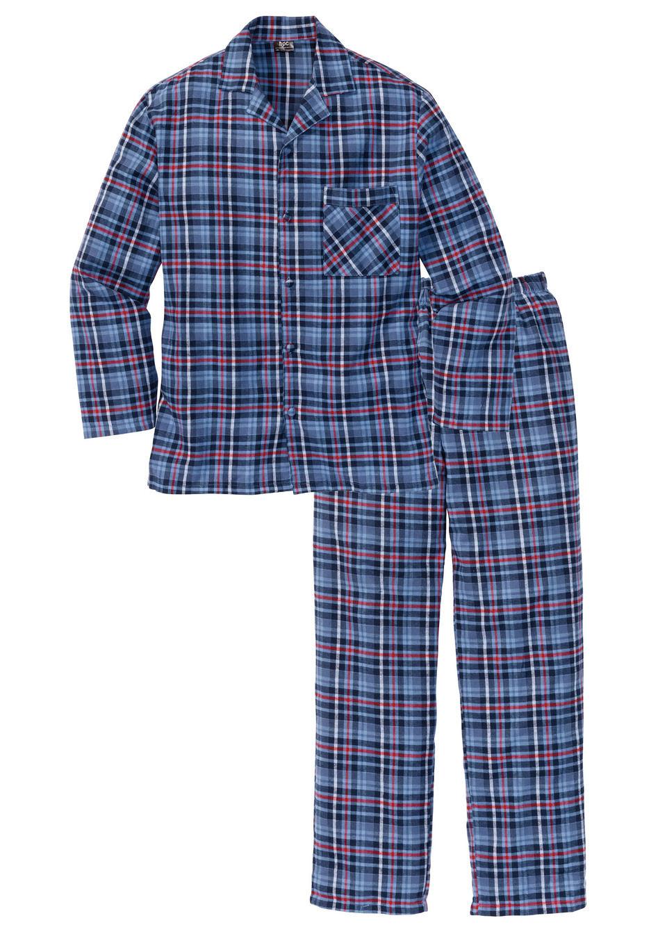 Купить Пижамы, Фланелевая пижама свободного покроя, bonprix, синий в клетку