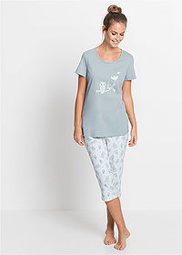 Pijama capri gri-argintiu/alb bpc bonprix collection 1