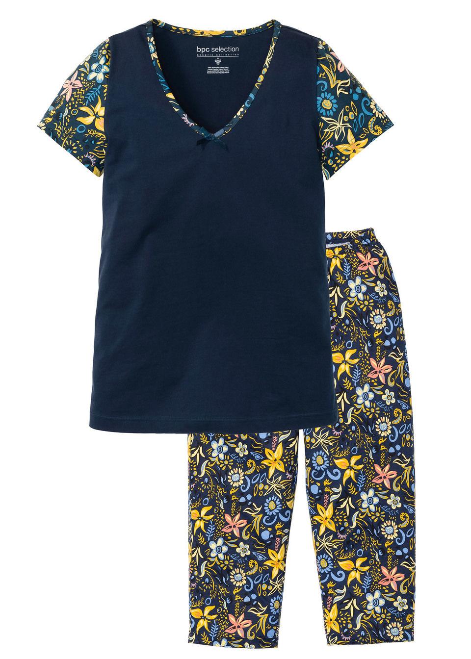 Piżama z krótkim rękawem i spodniami 3/4 bonprix Piżama kr.r spod 3/4 c.nieb dr