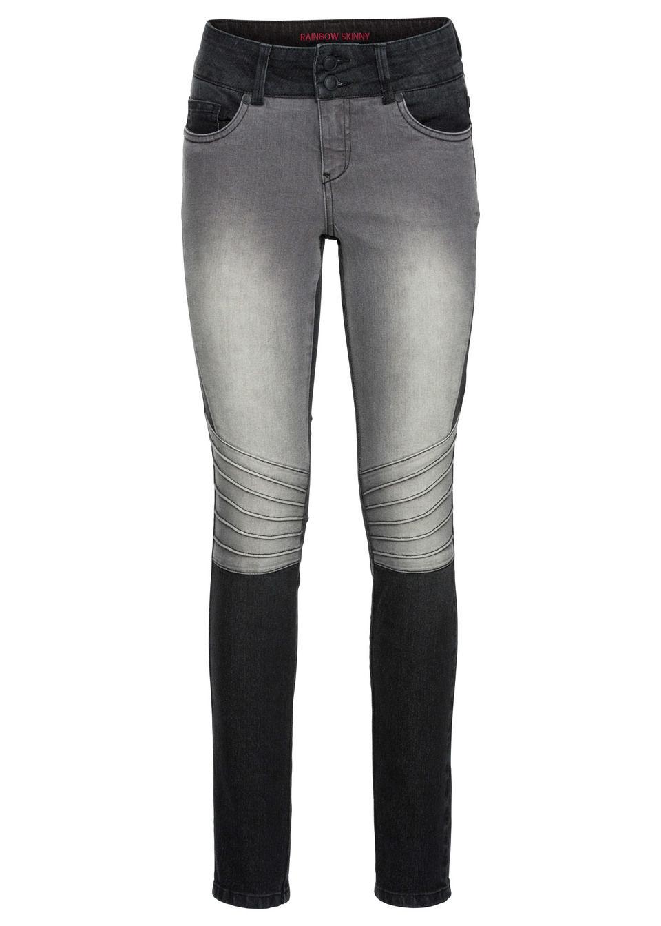 Двухцветные джинсы Skinny с рельефными швами