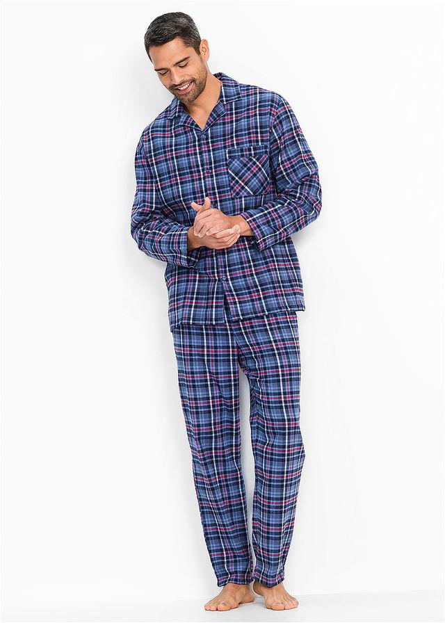Flanel pizsama kék kockás Kényelmes • 6999.0 Ft • bonprix 27aead67d6
