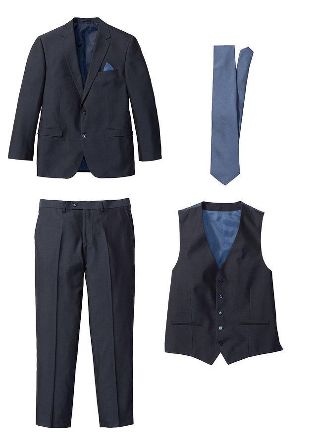 c82deba9c6476 Garnitur 4-częściowy (marynarka, spodnie, kamizelka i krawat) •  ciemnoniebiesko-