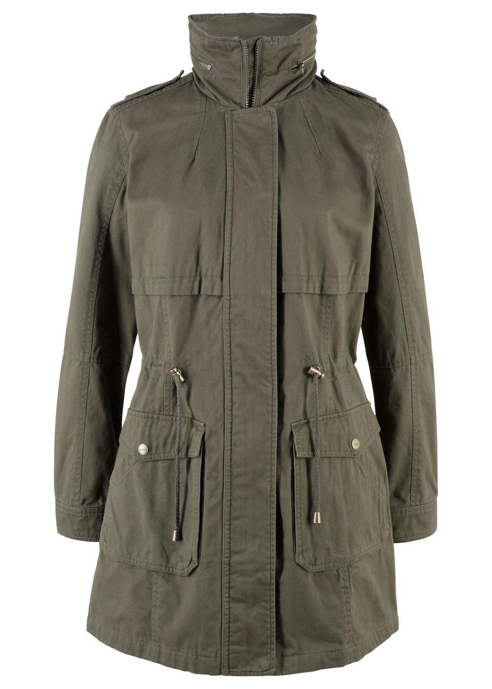 Купить Куртка-парка на трикотажной подкладке, bonprix, темно-оливковый