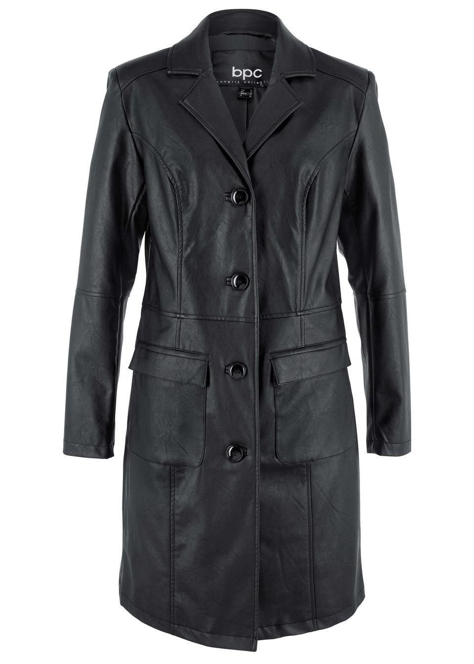 Płaszcz ze sztucznej skóry, z wykładanym kołnierzem i zaznaczoną talią bonprix czarny