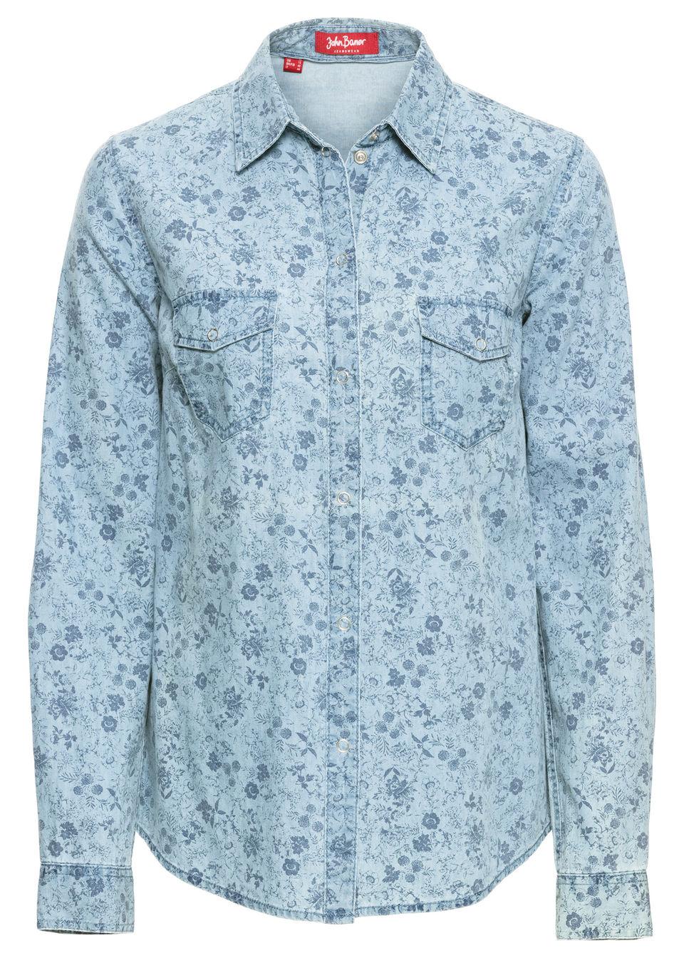 Купить Джинсовая блузка с принтом, bonprix, нежно-голубой с рисунком