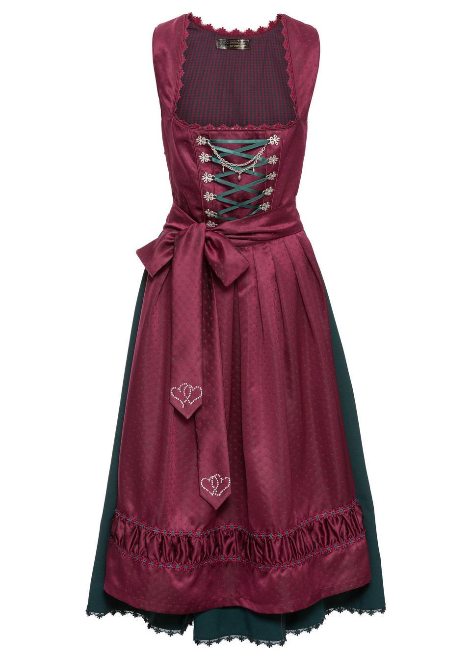 Sukienka ludowa Premium z haftowanym fartuchem bonprix magenta - wzorzysty