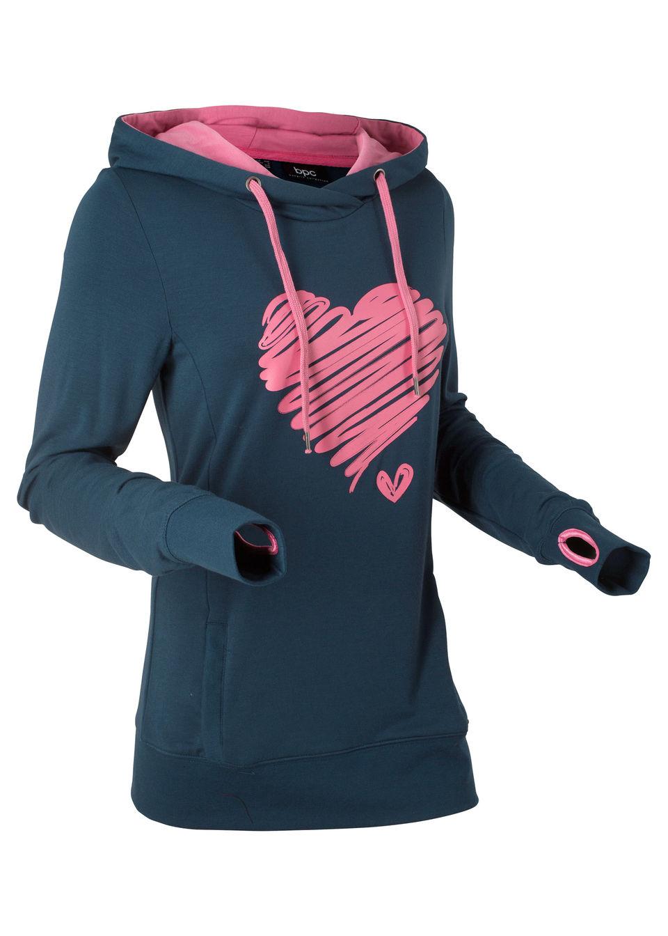 Свитшот с принтом сердца и длинным рукавом от bonprix