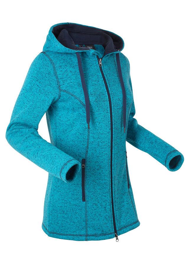Kötött polár kabát sötéttürkiz melírozott • 9999.0 Ft • bonprix 944a491fa2