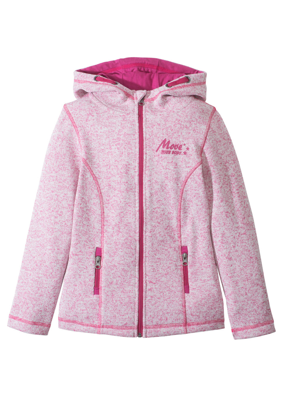 Купить Куртки и плащи, Флисовая куртка, bonprix, ярко-розовый фламинго-меланж цвета белой шерсти