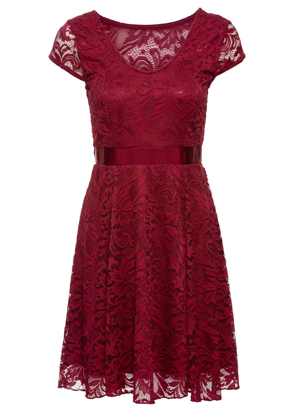 Купить Трикотажное платье с кружевной отделкой, bonprix, кленово-красный