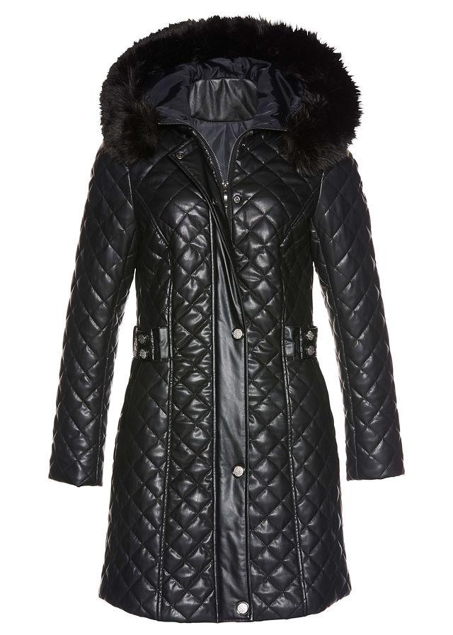 cc67606b1268 Prešívaný kabát v koženom vzhľade čierna • 74.99 € • bonprix