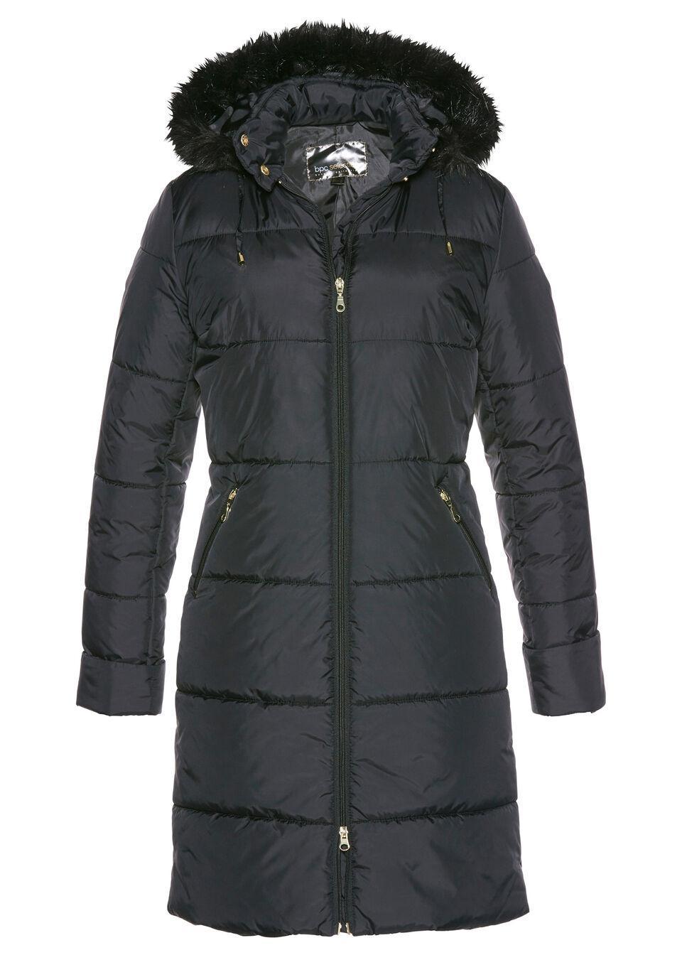 Купить Стеганое пальто с капюшоном, отделанным искусственным мехом, bonprix, черный
