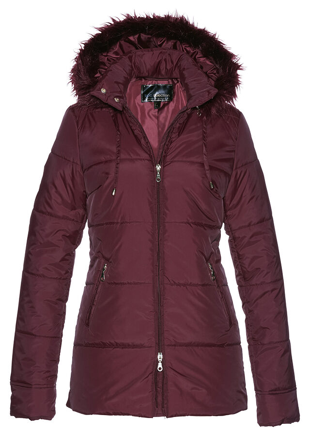 d7aeb007f Prešívaná bunda s umelou kožušinkou javorovo červená • 29.99 € • bonprix