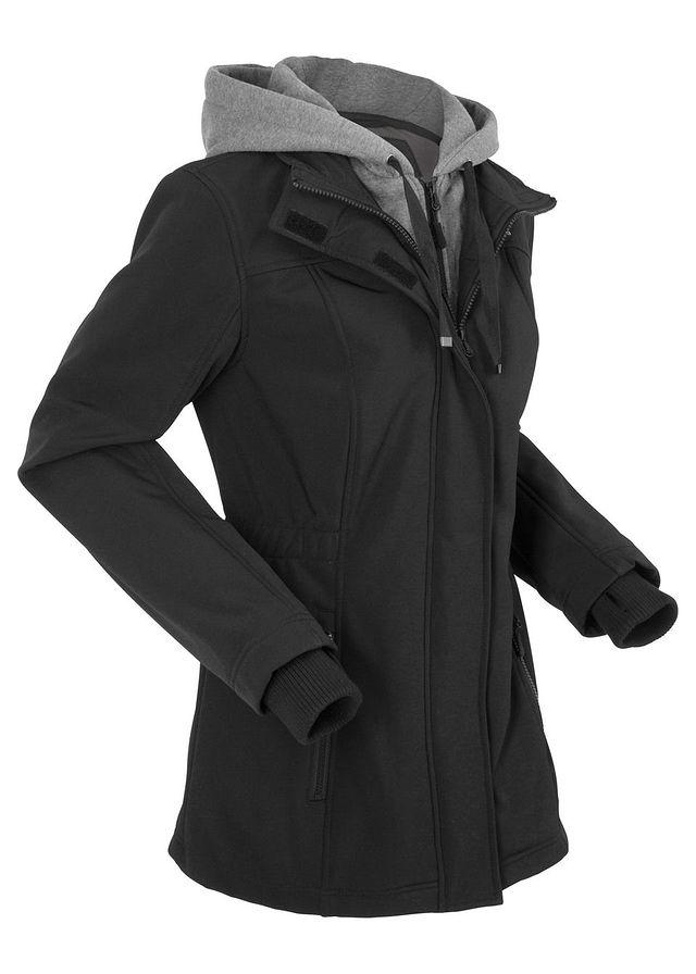 a8b6d68ee9 Długa kurtka softshell w optyce 2 w 1 czarny • 219.99 zł • bonprix