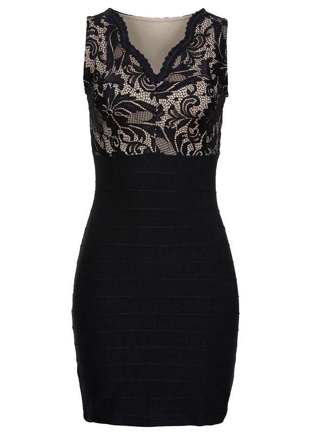 affd5c3a65 Sukienka z koronkową wstawką czarny • 149.99 zł • bonprix
