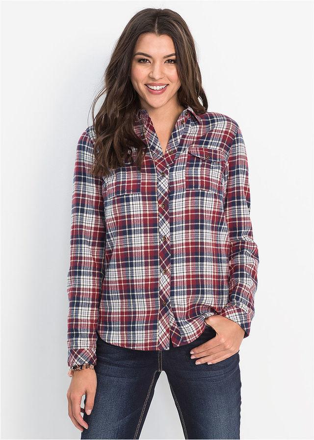 4b7f9d0d5fae Flanelová košeľa • bordová prírodná tmavomodrá károvaná • bonprix obchod
