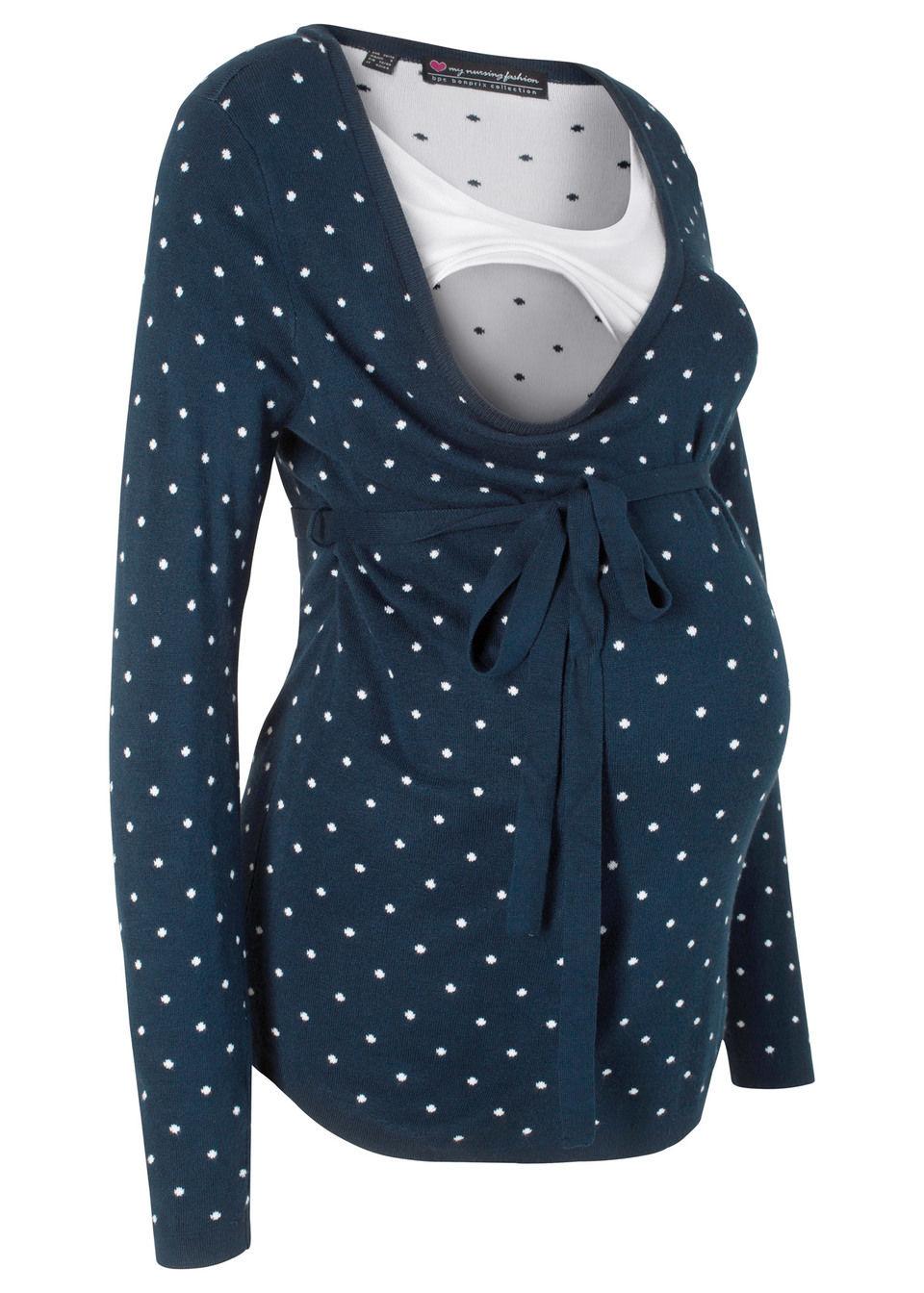 Купить Свитера, Для будущих и кормящих мам: пуловер, bonprix, темно-синий в горошек