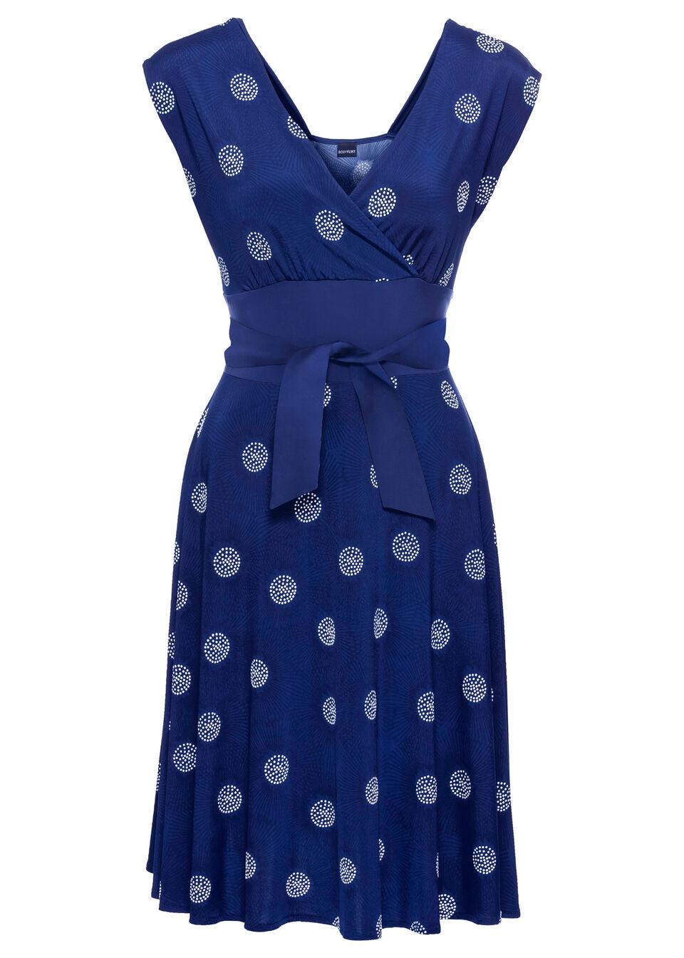 Sukienka bonprix ciemnoniebiesko-biały wzorzysty
