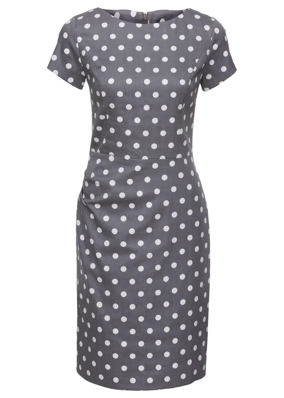 Sukienka bonprix szaro/biały w kropki