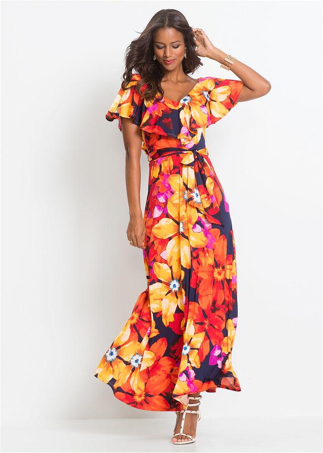 c047c6f09cefcd Sukienka z falbaną i paskiem żółto-czerwony • 119.99 zł • bonprix