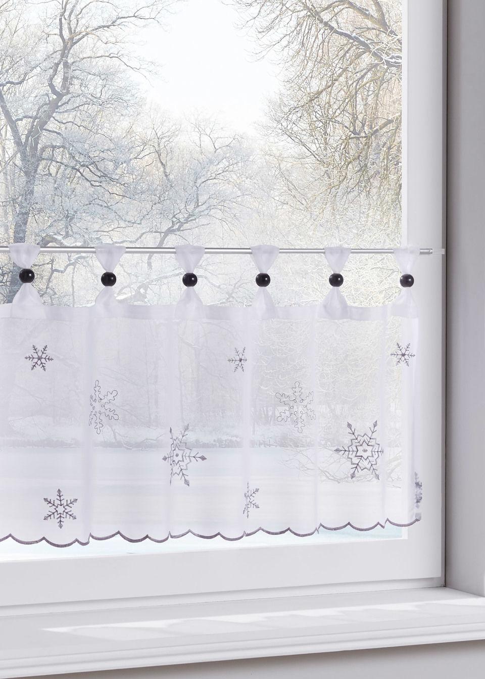 Кухонная штора «Снежинки» (1 шт.)